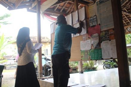 Pemasangan formulir C1 dikantor Desa Jatimulyo